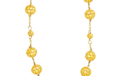 Long Gold and Yellow Sapphire Bead Chain Necklace