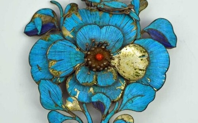 Lovely Large Antique Chinese Kingfisher Feather Hairpin