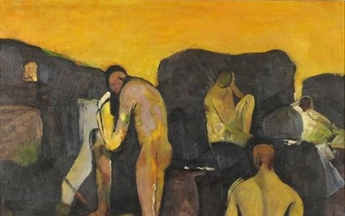 Manner of Kyffin Williams - Nude males on rocks, Welsh