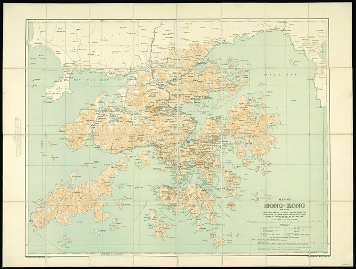 Map of Hong Kong and the Territory leased to Great Britain under the Convention between Great Britain and China, signed at Peking on the 9th of June 1898.
