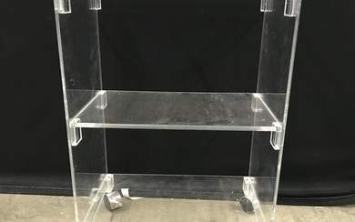 Mid Century Modern Lucite Side Table On Wheels