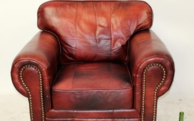 Oversized leather club chair