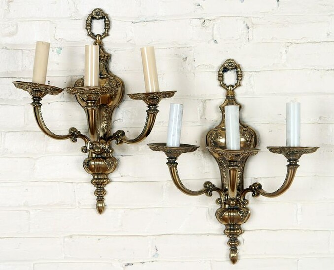 PAIR NEOCLASSICAL STYLE POLISHED BRONZE SCONCES