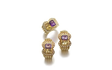 PAIR OF GEM SET AND DIAMOND EAR CLIPS, SABBADINI, AND A RING, ADLER