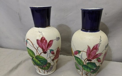 Pair Antique Tapestry Hand Painted Porcelain Vases