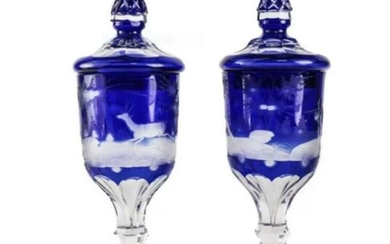 Pair Bohemian Blue Cut Clear Glass Urns, 19th Century