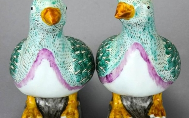 Pair Chinese Hand Painted Porcelain Pigeon Statues