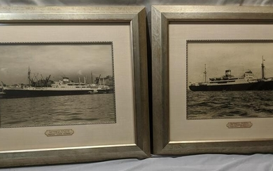 Pair Companie Maritime B&W Ocean liner Ship Photos