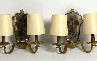 Pair French Style Mirror and Bronze Wall Sconces. Reve