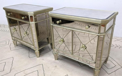 Pair Mirrored Side Table Cabinets.