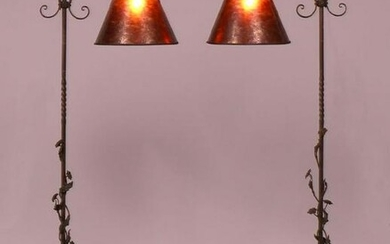 Pair Spanish Revival Forged Iron Floor Lamps c1920s