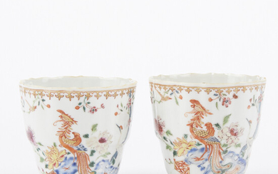 Pair of 18th c. Chinese Porcelain Famille Rose Teacups
