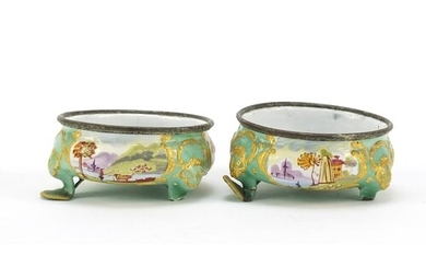 Pair of 19th century French enamel salts, hand painted with ...