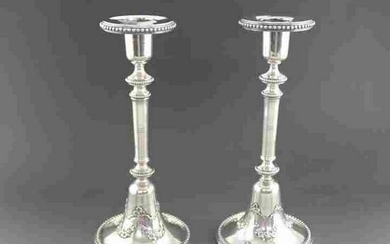 Pair of Belgian sterling silver candlesticks in the