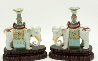 Pair of Chinese Famille Rose Porcelain Elephants