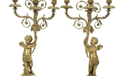 Pair of French Gilt-Bronze and Marble Candelabra