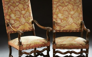 Pair of French Louis XIII Style Upholstered Fauteuils