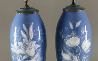 Pair of French Pate-sur-Pate Lamps