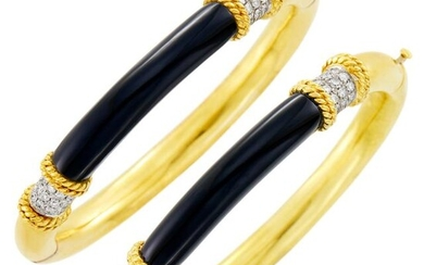 Pair of Gold, Black Onyx and Diamond Bangle Bracelets
