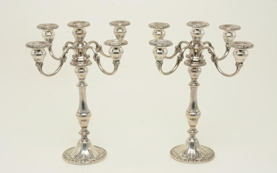 Pair of Gorham weighted sterling silver candelabra.