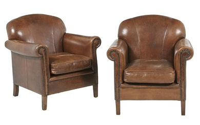 Pair of Leather-Upholstered Club Chairs