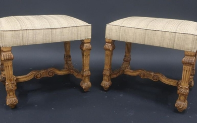 Pair of Louis XIV style stools in natural wood carved...