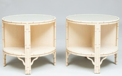 Pair of Painted Faux Bamboo Two Tier Side Tables