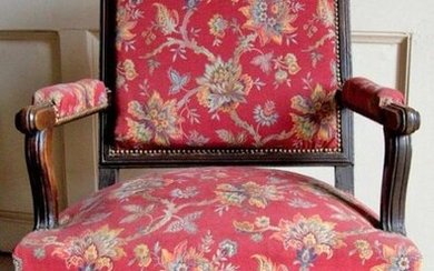 Pair of moulded and turned natural wood armchairs...