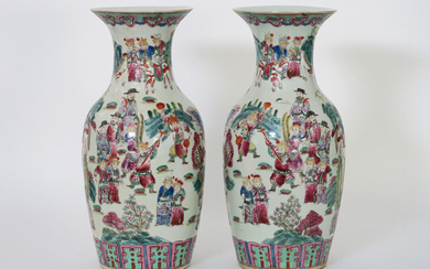 Pair of nineteenth century Chinese porcelain vases with a terraced polychrome decor with warriors - height : 42,5 cm||pair or 19th Cent. Chinese vases in porcelain with polychrome warriors decor