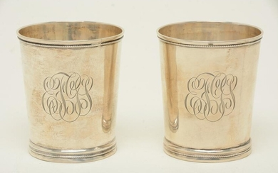 Pair of silver julep cups, mid-19th C. One appears to