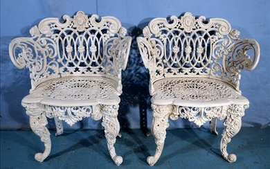 Pair of wrought iron garden chairs, ca. 1880's