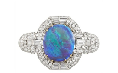 Platinum, Black Opal and Diamond Brooch