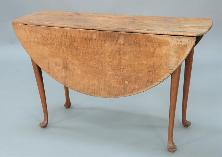Queen Anne Drop Leaf Table with tiger maple round top