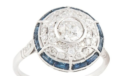 RING WITH DIAMONDS AND SAPPHIRES BELLE ÉPOQUE STYLE...