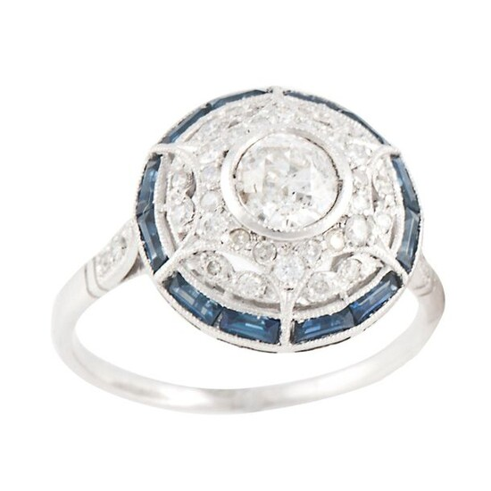 RING WITH DIAMONDS AND SAPPHIRES BELLE ÉPOQUE STYLE