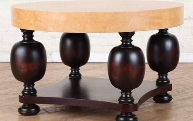 ROUND MAPLE COFFEE TABLE WITH BULBOUS LEGS
