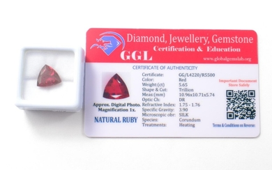 Red 5.65ct Trillion cut heat treated Natural Ruby. [10.96x10...