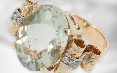 Ring: rose gold ring with prasiolite and diamonds,...