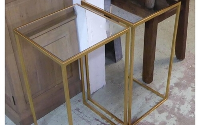 SIDE TABLES, a pair, 1960's French style gilt metal with squ...
