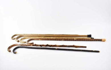 SIX VARIOUS WOOD CANES