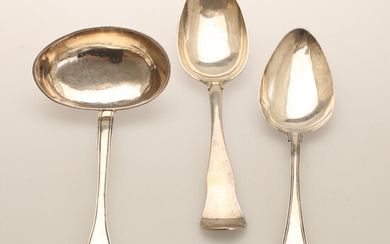 SPOONS and MUSHROOMS, 3 parts, silver.