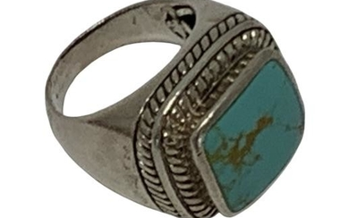 STERLING SILVER SQUARE TURQUOISE BOLD RING SZ 6.5