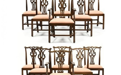Set of Twelve Chippendale Style Dining Chairs