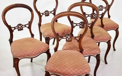 Set of six Victorian walnut framed single dining chairs