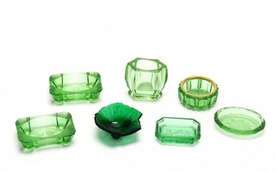 Seven Vintage Green Glass Table Accessories