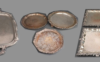 Silver Plated Ornately Decorated Serving Trays, 6