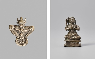 TWO SMALL INDIAN BRONZE FIGURES, 19TH CENTURY
