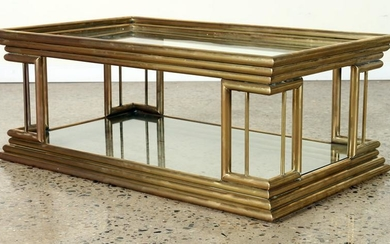 TWO TIER BRASS AND GLASS COFFEE TABLE C.1970