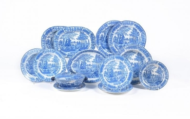 The remnants of a Davenport blue and white printed pearlware part dinner service