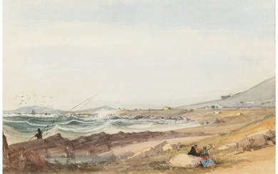 Thomas William Bowler (1812-1869), The artist fishing at Green Point, Cape of Good Hope, with the lighthouse beyond